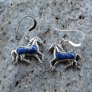 Sterling silver horse lapis inlay earrings